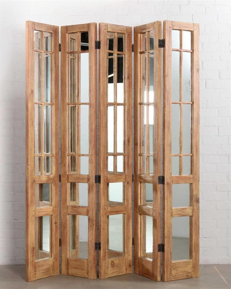 American James Lumsden Rustic Designer Five-Panel Mirrored Room Divider Floor Screen For Sale
