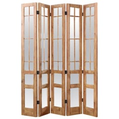 James Lumsden Rustic Designer Five-Panel Mirrored Room Divider Floor Screen
