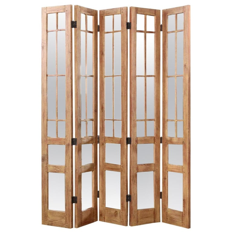 James Lumsden Rustic Designer Five-Panel Mirrored Room Divider Floor Screen For Sale