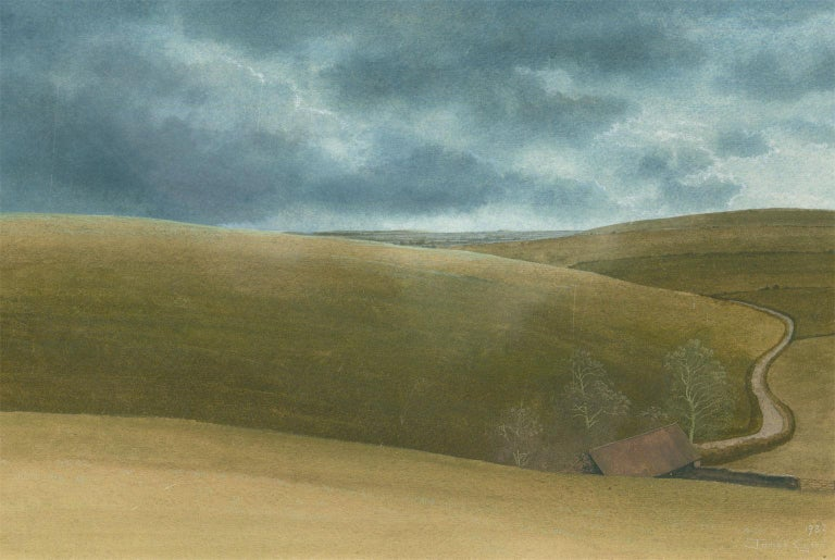 James Lynch (b. 1956) - English Signed 1982 Tempera, Rolling English Countryside - Modern Painting by James Lynch