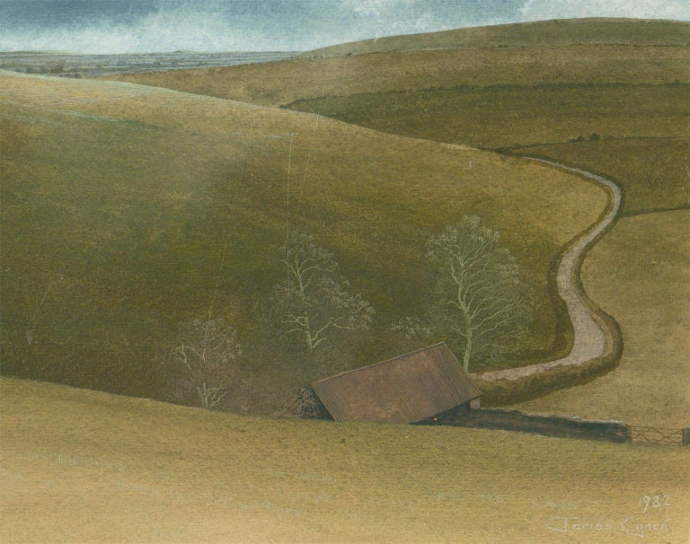 James Lynch (b. 1956) - English Signed 1982 Tempera, Rolling English Countryside - Gray Landscape Painting by James Lynch