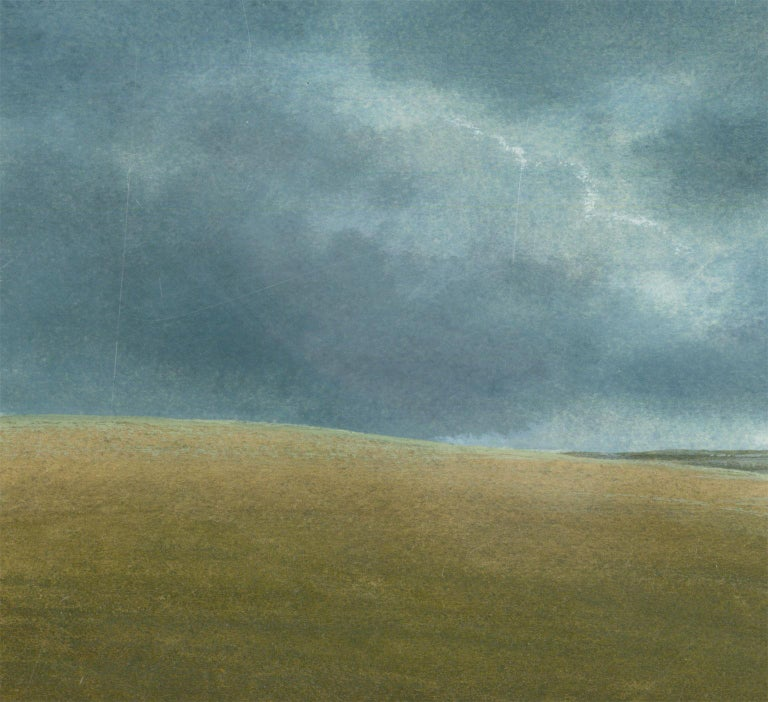 A stunning modern British landscape painted in egg tempera by the acclaimed painter James Lynch. The painting depicts the peaceful rolling hills of the English countryside, with sunlight breaking through the stormy clouds. The present painting is an