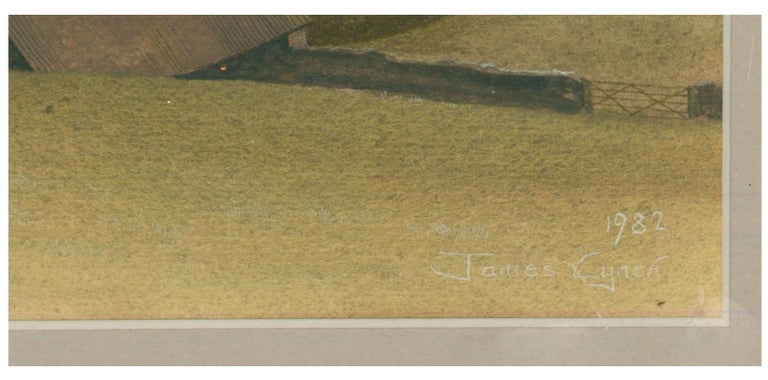 James Lynch (b. 1956) - English Signed 1982 Tempera, Rolling English Countryside For Sale 1