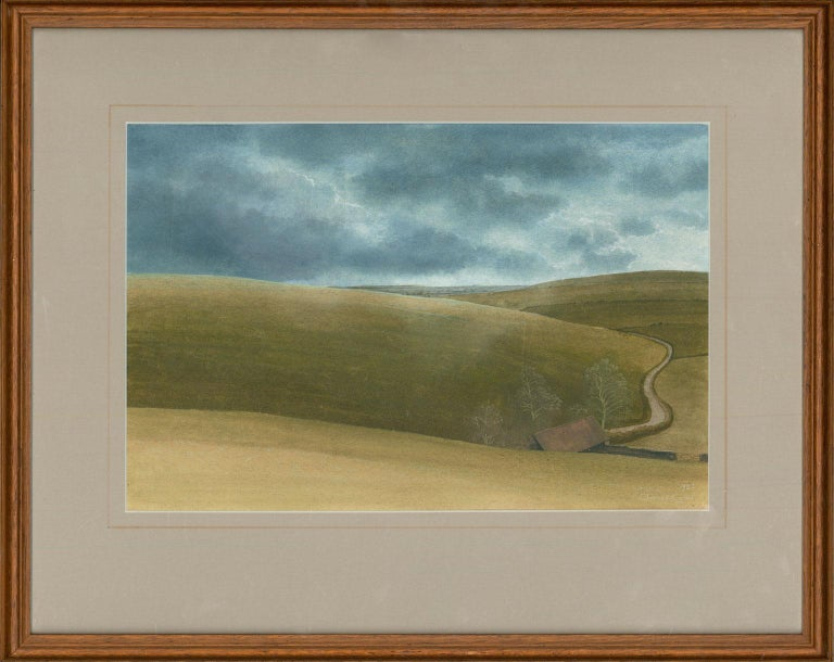 James Lynch (b. 1956) - English Signed 1982 Tempera, Rolling English Countryside - Painting by James Lynch