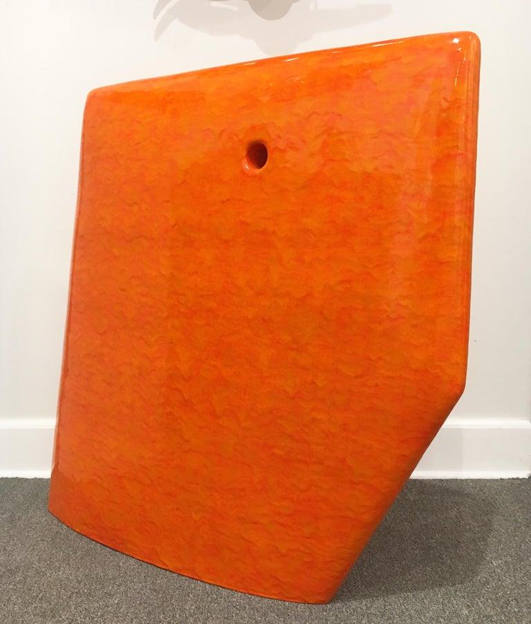 Contemporary Abstract Minimalist Ceramic Sculpture with Bright Orange Glaze For Sale 1