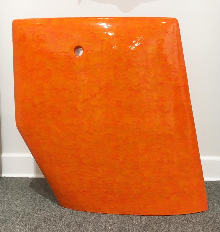 Contemporary Abstract Minimalist Ceramic Sculpture with Bright Orange Glaze For Sale 2