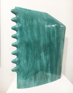 Contemporary Abstract Minimalist Ceramic Sculpture with Blue Green Glaze