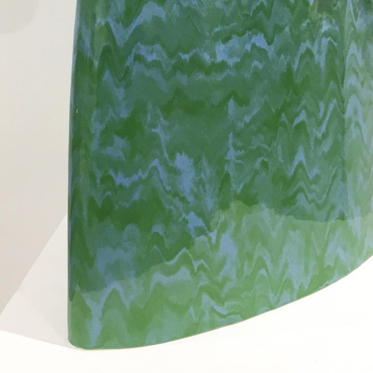 Minimalist Abstract Ceramic Sculpture with Cascading Blue and Green Glaze For Sale 2