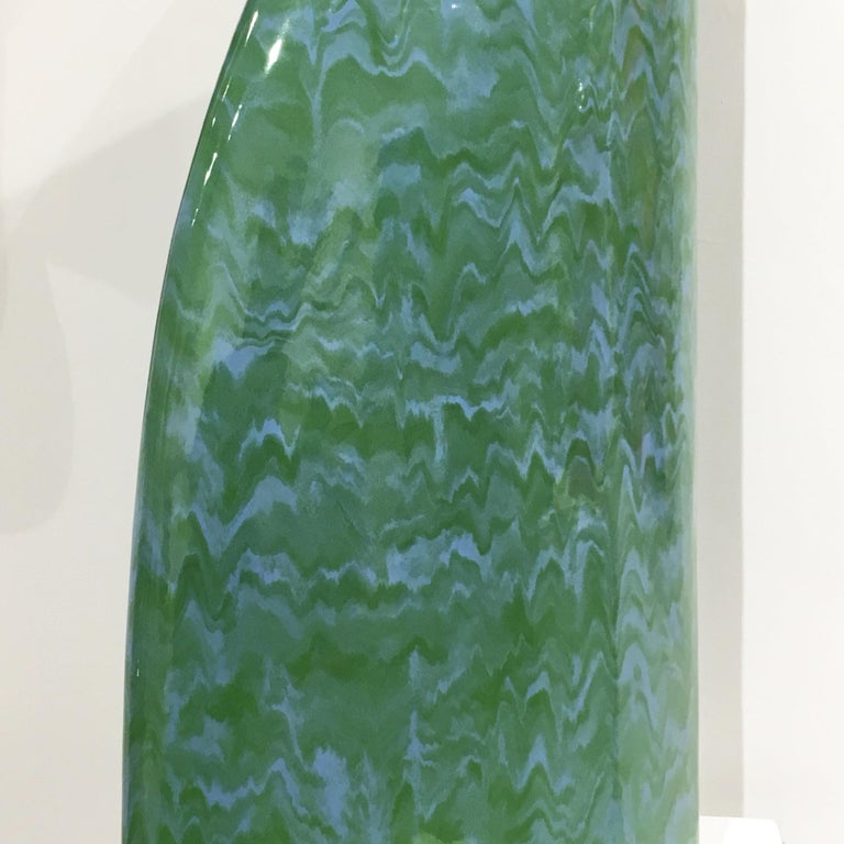 Minimalist Abstract Ceramic Sculpture with Cascading Blue and Green Glaze For Sale 3