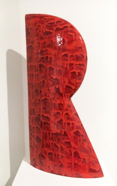 """Red R"", Minimalist Abstract Ceramic Sculpture with Bright Cascading Glaze"