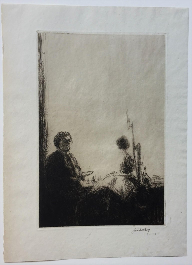 Artist and Model - Print by James McBey.