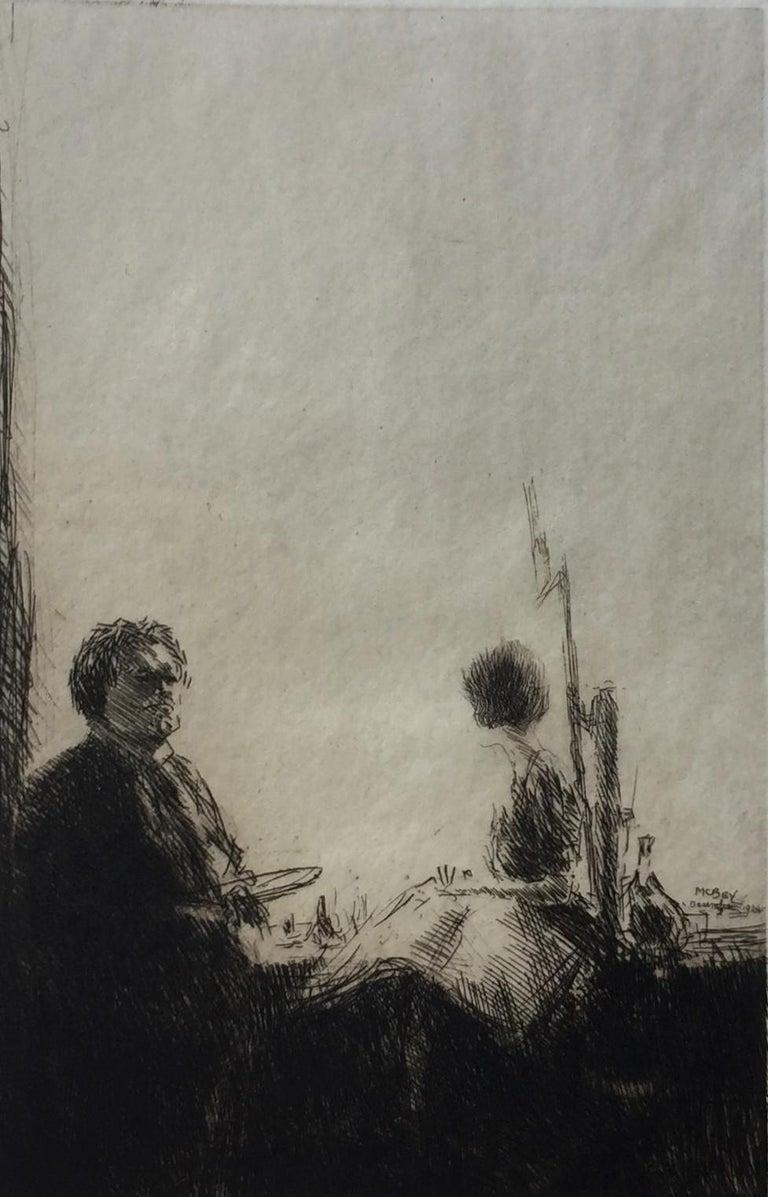 James McBey. Portrait Print - Artist and Model