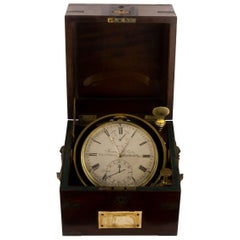 James McCabe Rare Marine Chronometer Eight Days Vintage Brass Silvered Dial