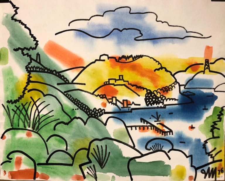 "James McCray  View of the Bay  1976  Gouache on paper  29""x23"" *unframed $650 Signed and dated lower right  *Listed price reflects custom framing selected by seller. Please expect framing time between 4-6 weeks.  James McCray was born in Niles, CA"