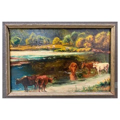 "James McDougal Hart ""Cattle at Water's Edge"" Original Painting, circa 1890"