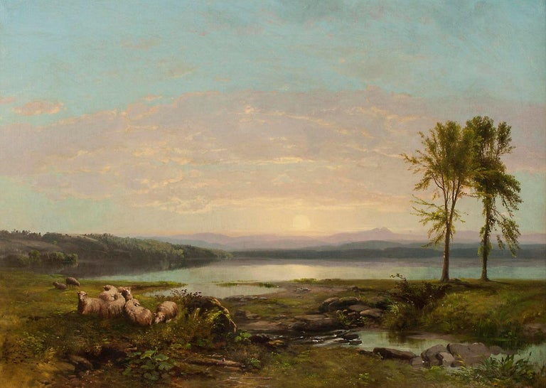 James McDougal Hart (1828–1901) View of Lake Champlain, c. 1857 Oil on canvas 26 3/16 x 36 ¼ inches Signed lower center  Exhibition History: National Academy of Design, 1857 (cat. 488) Provenance: F. W. Worth  Prominent amongst the second generation