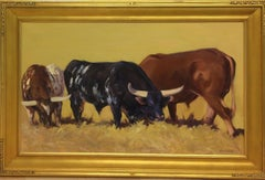 Bulls Grazing,  original 24x48 contemporary landscape