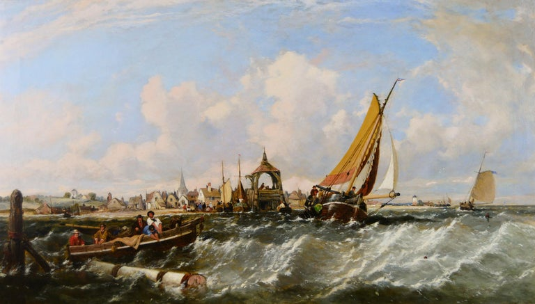 19th Century seascape oil painting of ships & fishing boats off a coast  - Painting by James Meadows Snr