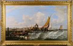 19th Century seascape oil painting of ships & fishing boats off a coast