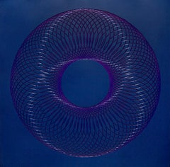 51801- blue purple abstract geometric holographic light drawing on wood panel