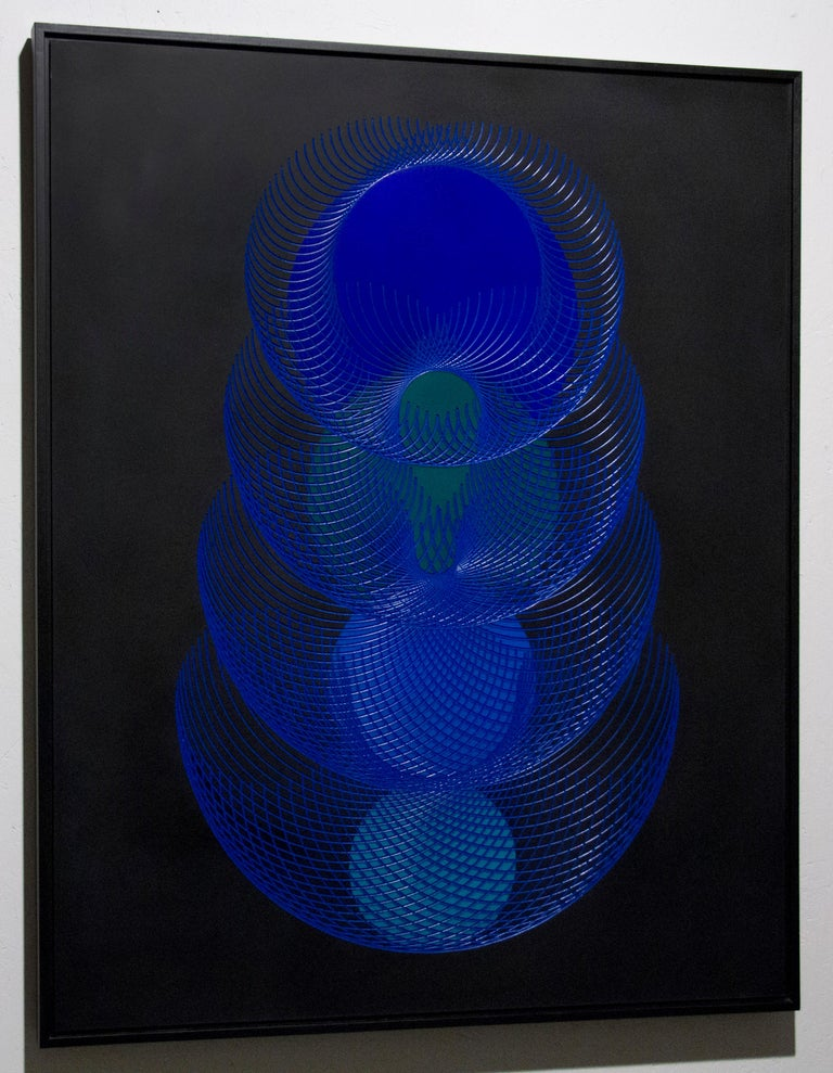 51902- blue and black abstract geometric holographic light drawing on wood panel - Painting by James Minden