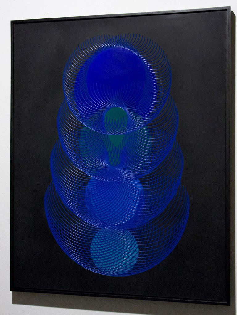 51902- blue and black abstract geometric holographic light drawing on wood panel - Abstract Geometric Painting by James Minden