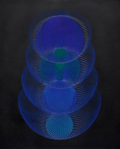 51902- blue and black abstract geometric holographic light drawing on wood panel