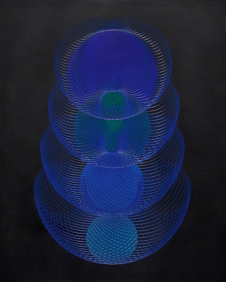 James Minden Abstract Painting - 51902- blue and black abstract geometric holographic light drawing on wood panel