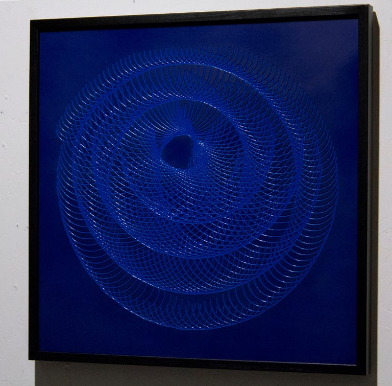 51904- blue circle abstract geometric holographic light drawing on wood panel - Abstract Geometric Painting by James Minden