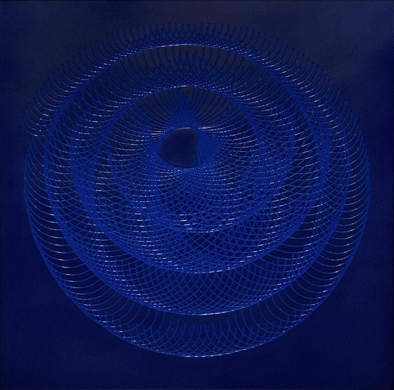 James Minden Abstract Painting - 51904- blue circle abstract geometric holographic light drawing on wood panel