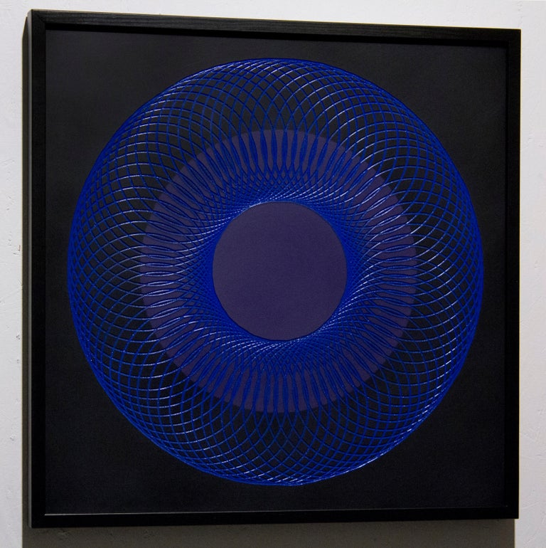 51905- blue circle abstract geometric holographic light drawing on wood panel - Painting by James Minden