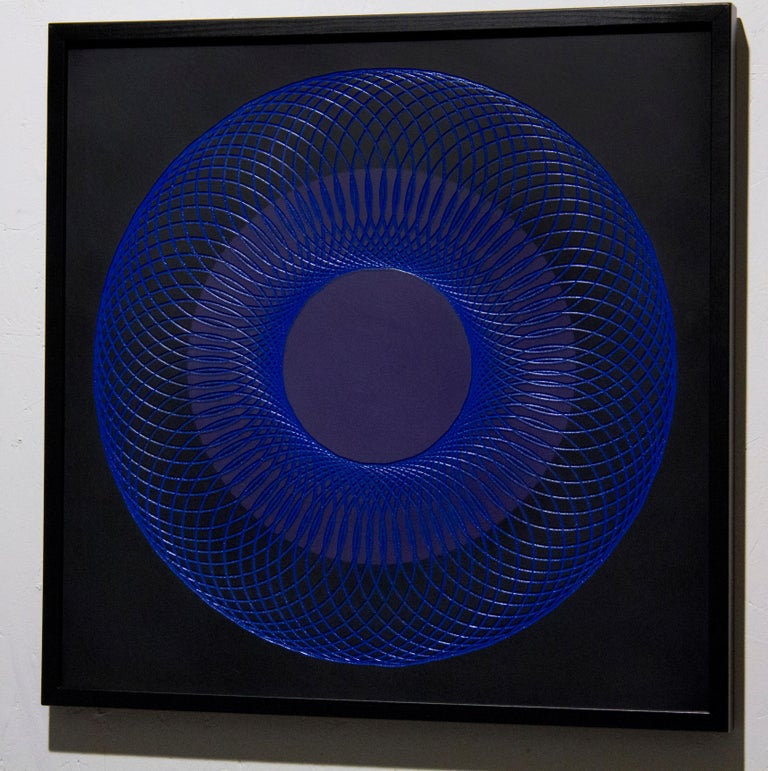 51905- blue circle abstract geometric holographic light drawing on wood panel - Abstract Geometric Painting by James Minden
