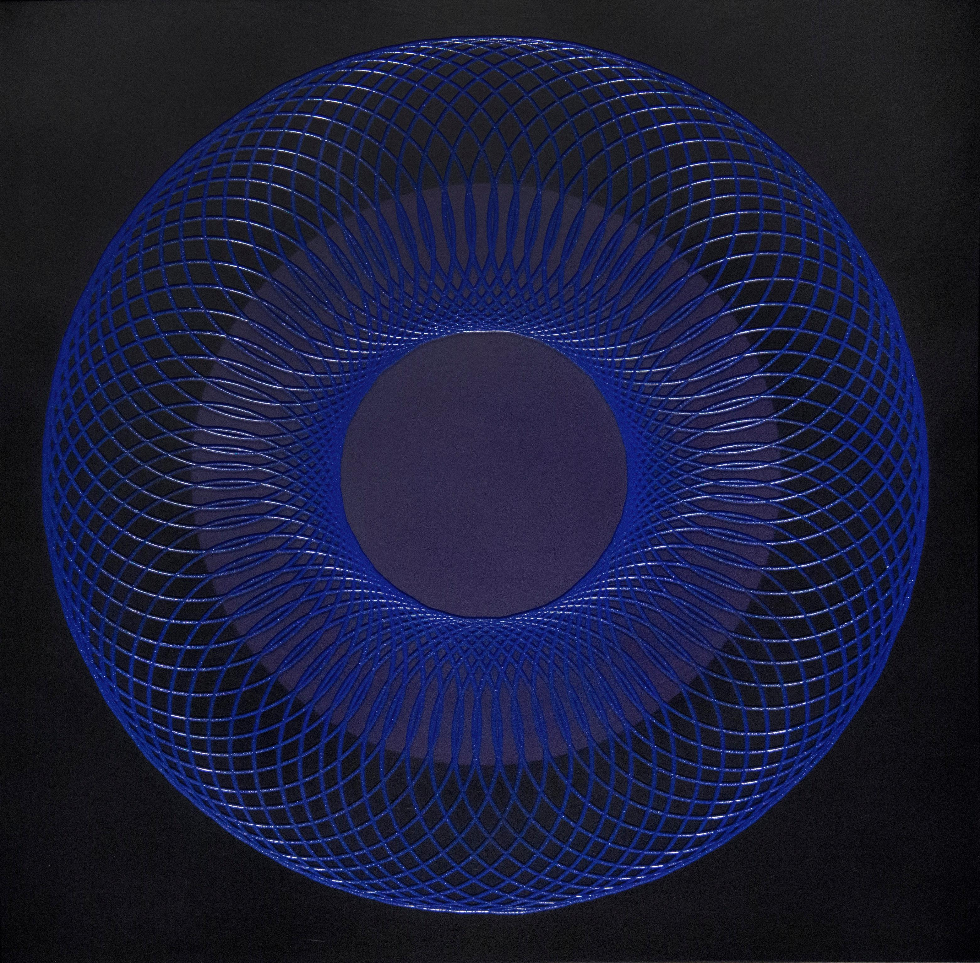51905- blue circle abstract geometric holographic light drawing on wood panel