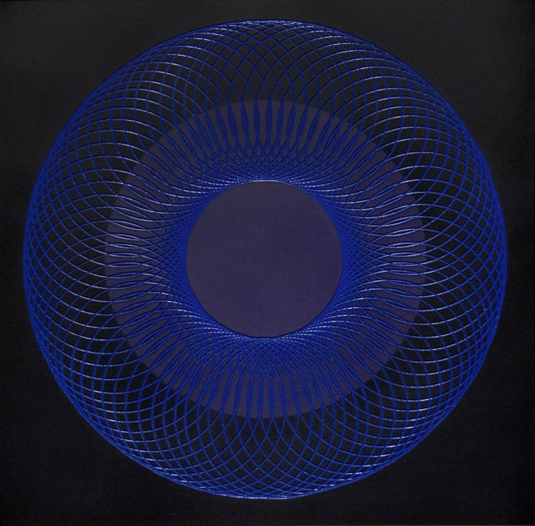 James Minden Abstract Painting - 51905- blue circle abstract geometric holographic light drawing on wood panel