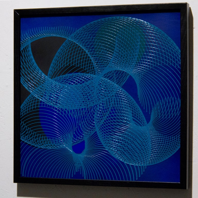 51906- blue circle abstract geometric holographic light drawing on wood panel - Abstract Geometric Painting by James Minden