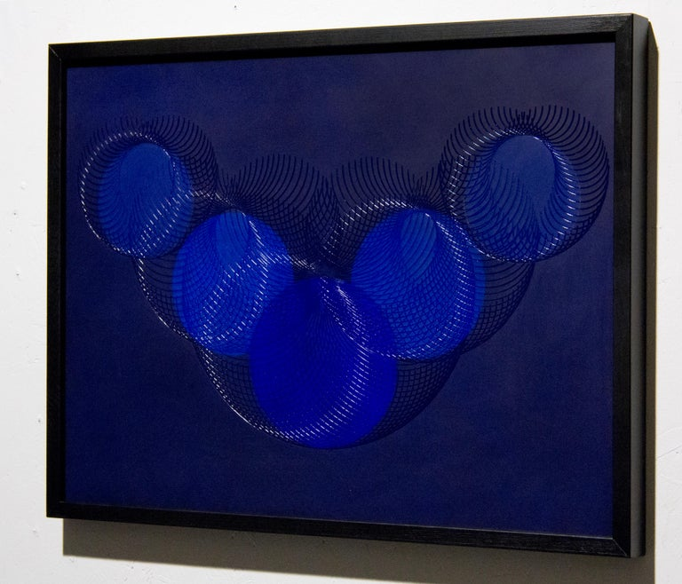 51908- blue circle abstract geometric holographic light drawing on wood panel - Painting by James Minden