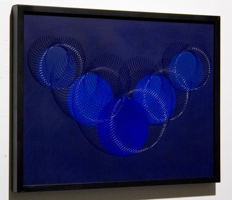 51908- blue circle abstract geometric holographic light drawing on wood panel - Abstract Geometric Painting by James Minden