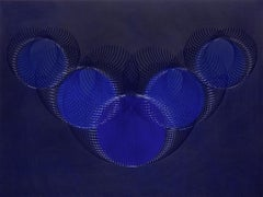 51908- blue circle abstract geometric holographic light drawing on wood panel