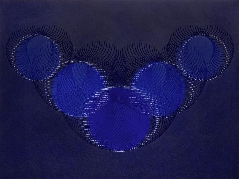 James Minden Abstract Painting - 51908- blue circle abstract geometric holographic light drawing on wood panel