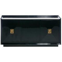James Mont Attributed Black Lacquered Sideboard or Bar Cabinet, circa 1940s