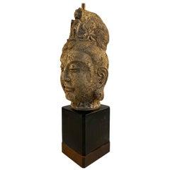 James Mont Ceramic Tara Buddha Head Lamp, circa 1950