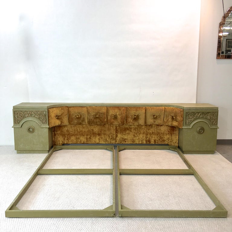 Original signed James Mont Designs upholstered king size headboard with integrated nightstands and two-piece platform bed frame on ball casters. 