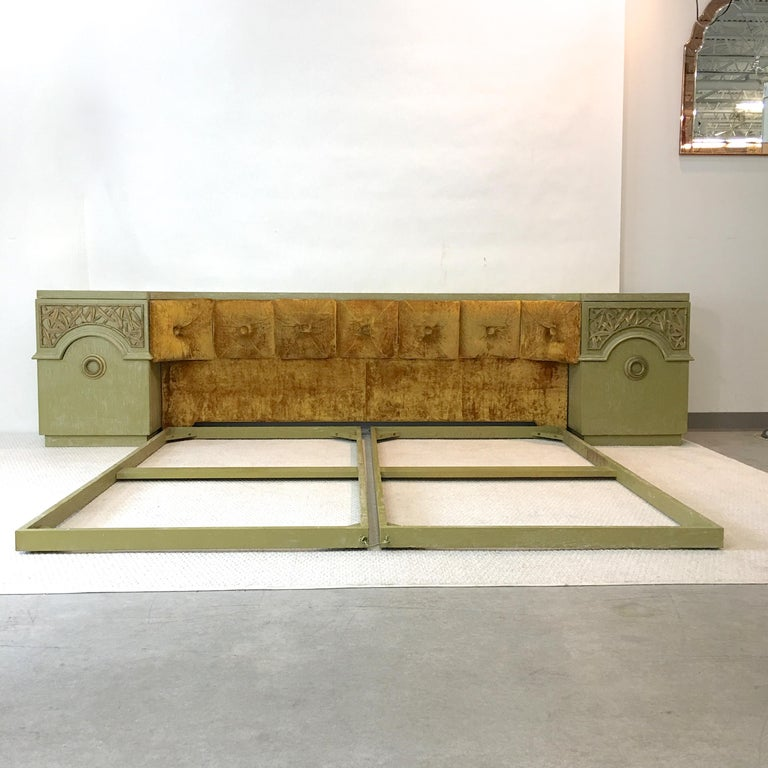Mid-Century Modern James Mont Cerused King Size Bed Headboard with Integrated Nightstands For Sale