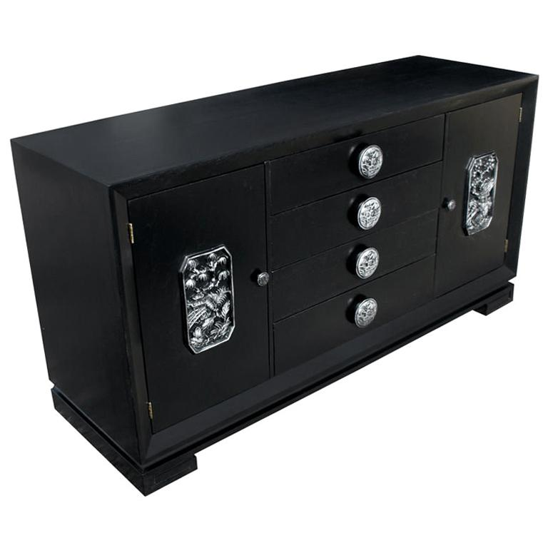 James Mont Ebonized And Silver Leaf Asian Motif Buffet Cabinet For Sale