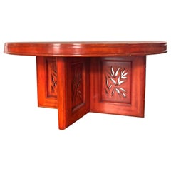 James Mont 'Flame' Cinnabar Lacquered Chinoiserie Dining Table, 1952