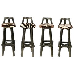 James Mont Limed Oak and Zebra Hide Bar Stools