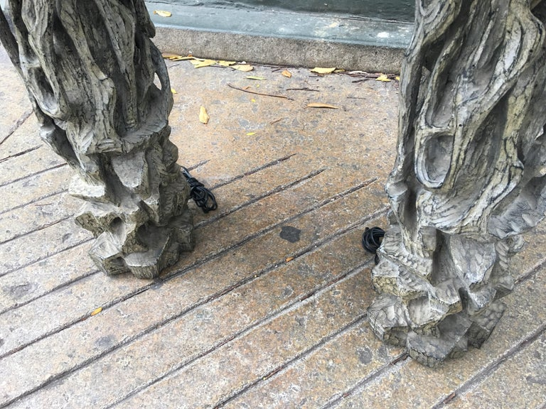 James Mont Monumental Carved Tree Trunk Lamps For Sale 3