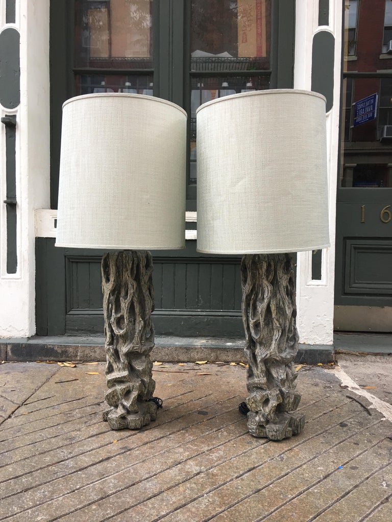 James Mont Monumental Carved Tree Trunk Lamps For Sale 1