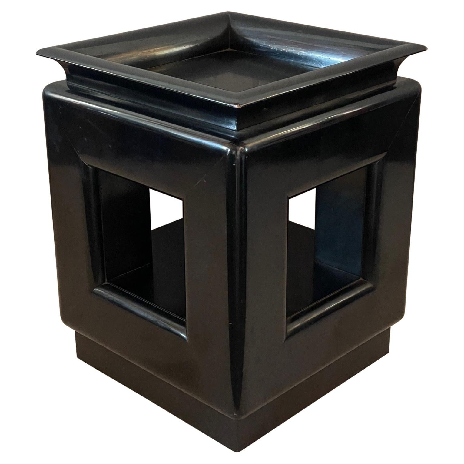 James Mont Occasional Pedestal Table Black Laquer