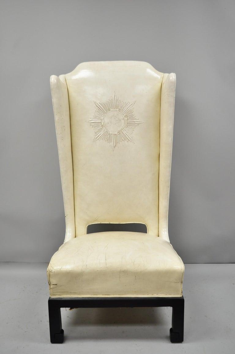 Incredible James Mont Oversized Leather Oriental High Back Chair Inzonedesignstudio Interior Chair Design Inzonedesignstudiocom